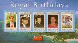 Bermuda Stamp Sheetlet - Royal Birthdays - $8.50