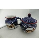 Holly Mountain Lodge - Sugar Bowl with Lid and Creamer set in box - EUC - $17.82