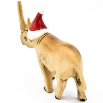 Hand Carved & Painted Jacaranda Wood Santa Hat Rhino Safari Christmas Figure image 3