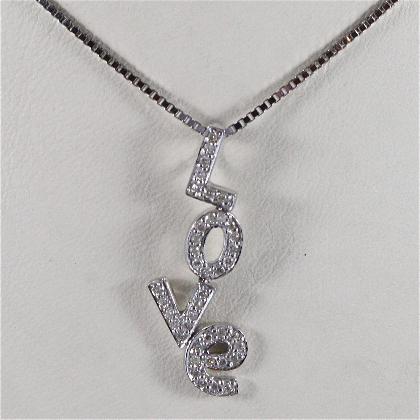 18K WHITE GOLD NECKLACE, LOVE PENDANT, DIAMONDS CT 0.20, MADE IN ITALY