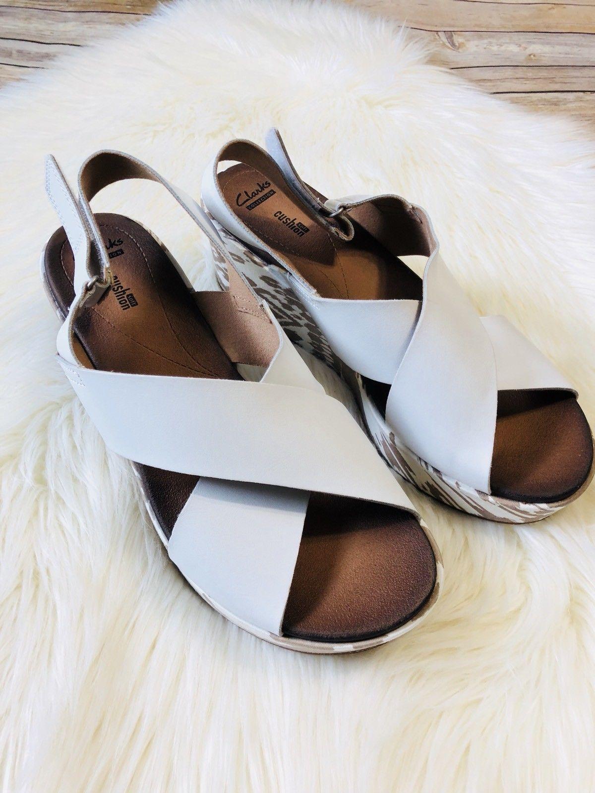 e3cbf4064ba S l1600. S l1600. Previous. Clarks Women s White Stasha Hale 4 Criss Cross  Slingback Wedge Sandals ...