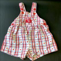 Vintage Oshkosh Plaid Hearts Vestbak Short Overalls Shortalls Girl 6 to 9 Months - $38.99