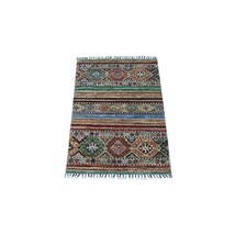 "2'1""x3' Super Kazak Khorjin And Tribal Design Wool Hand Knotted Rug G67610 - $281.06"