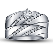 14k White Gold Finish 925 Silver Round Cut Sim Diamond Wedding Bridal Ring Set - $73.53