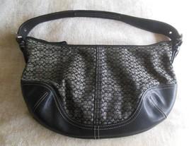 Coach Signature Canvas/Black Leather Hobo Shoulder Handbag 6026 - £22.02 GBP