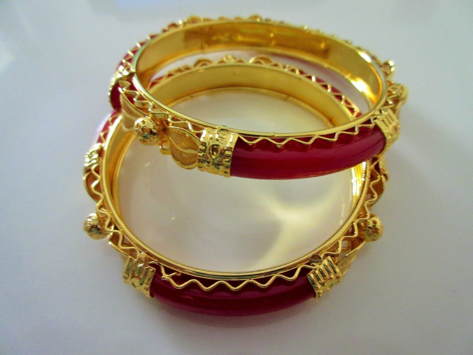 Indian Traditional Bollywood Gold Plated Bridal Red Pola Fashion Bangles
