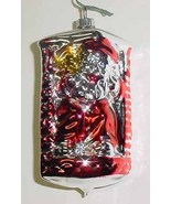 Santa Down Chimney Vintage Glass Christmas Ornament - $10.00