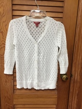 Arizona Jeans XL (14/16) 3/4 Sleeve Button Cardigan V-Neck White Sweater - $6.25