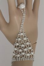 Bridal Hand Chain Wedding Prom Bracelet Ring Faux Pearl Beads Womens Rhi... - $16.99