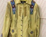 Men New Western Tan Buckskin Buffalo Leather Jacket Handmade Beads Fringe QJ08 - $141.67