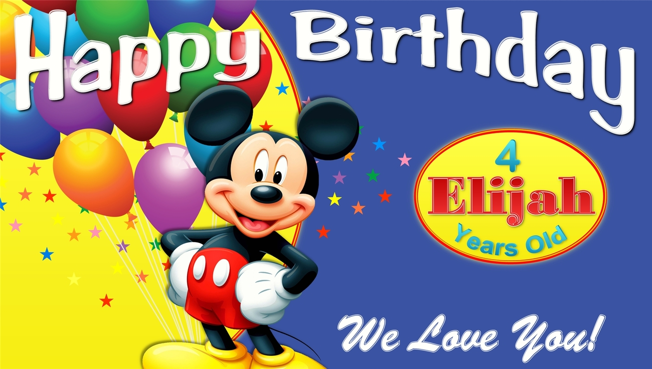 Mickey Mouse Club House Custom Birthday Banner Party Decoration