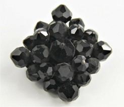 ESTATE VINTAGE Jewelry HIGH END BLACK GLASS CRYSTAL HAND WIRED BROOCH - $15.00