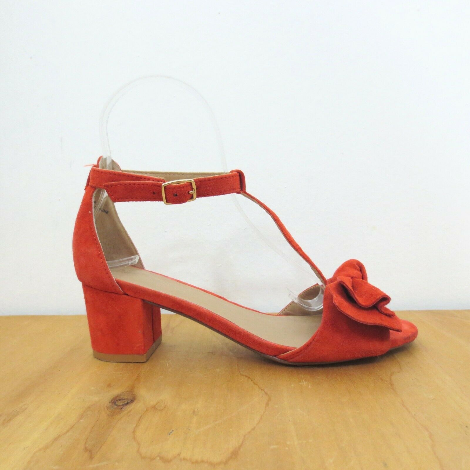 6.5 - Anthropologie Red Suede T Strap Bow Ankle Strap Block Heel Sandals 1022PH - $38.00