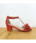 6.5 - Anthropologie Red Suede T Strap Bow Ankle Strap Block Heel Sandals... - $38.00