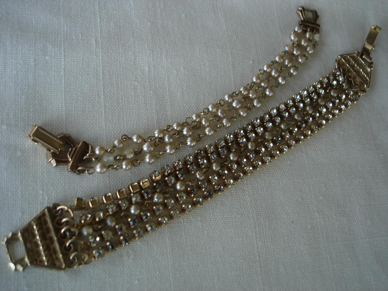 Vintage Sim Pearls & Rhinestones Multi Strand Bracelets, 2