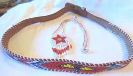 Vtg Cowboy western Kid native glass seed bead thunderbird leather Belt N... - $20.00
