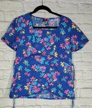 Cherokee Studio Scrub Top Size S Womens Blue Floral Short Sleeve Square Neck Shi - $14.96