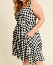 Plus Size Gingham Dress, Black White Plaid Dress, Black Plaid Dress with Pockets