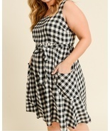 Plus Size Gingham Dress, Black White Plaid Dress, Black Plaid Dress with... - $90.56 CAD