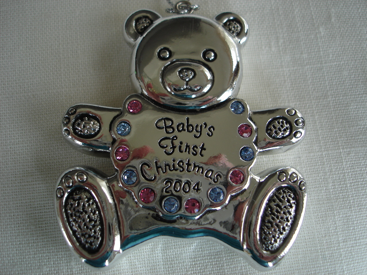Reed Barton Silverplated Baby Bear 1st Christmas Ornament,