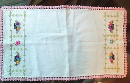 Antique Table Runner Embroidered Floral Design / Lovely Crocheted Edging #80292 - $12.00