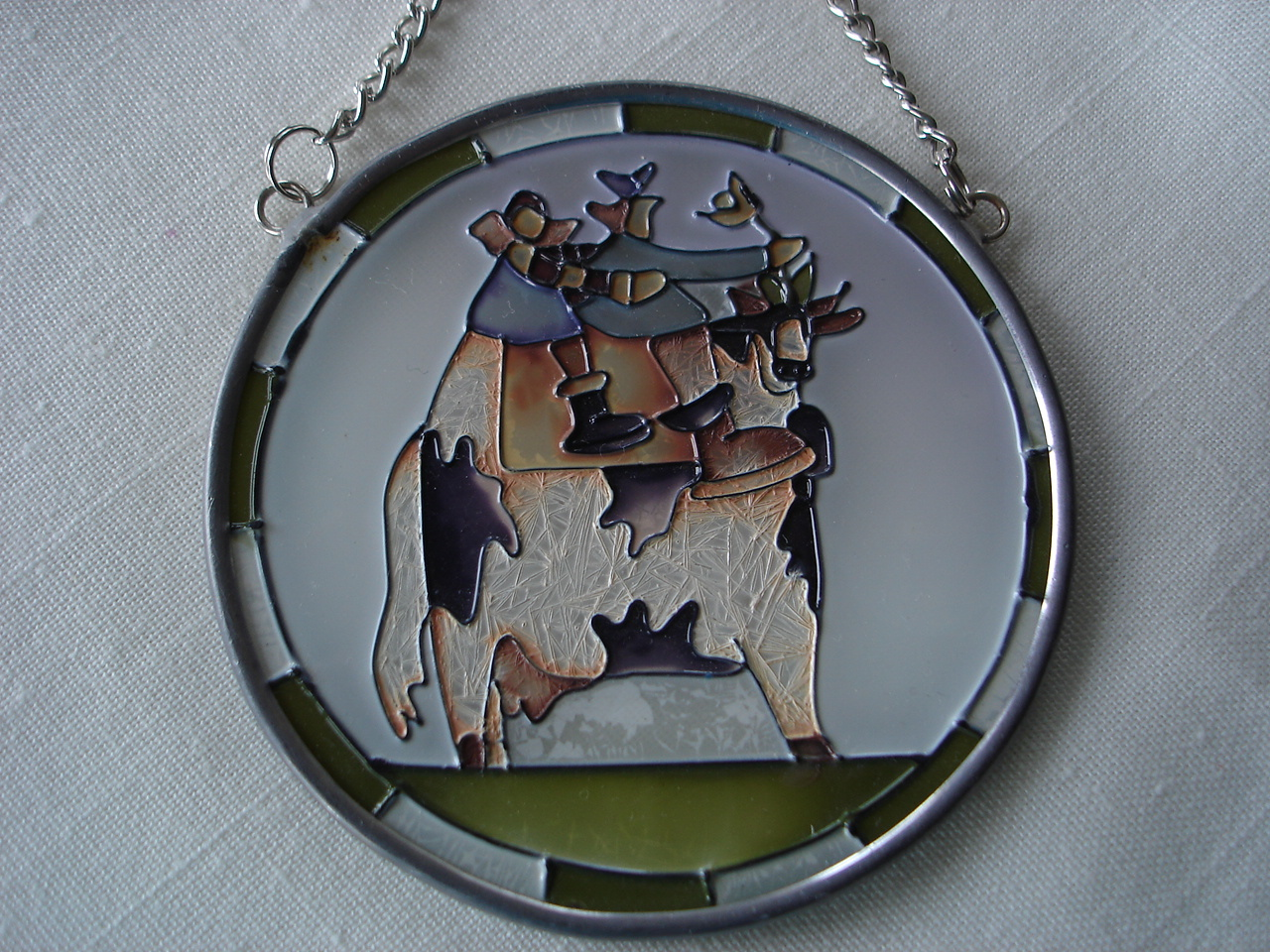 Stained Glass Sun Catcher, Lead Frame,Farmer, Cow