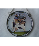 Stained Glass Sun Catcher, Lead Frame,Farmer, Cow - $7.99