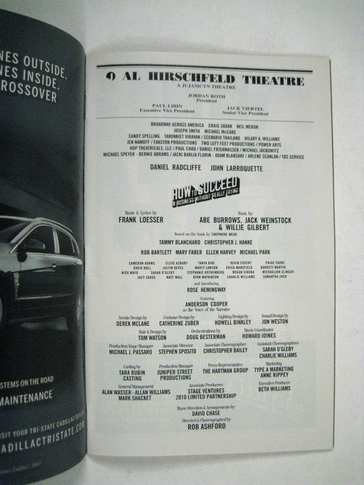 How to Succeed Business Playbill 2011 Hirschfield Theatre Radcliffe Larroquette