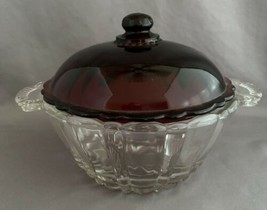 Depression Glass Ruby Red Lid Candy Dish Old Cafe Pattern by Anchor Hocking - $20.00