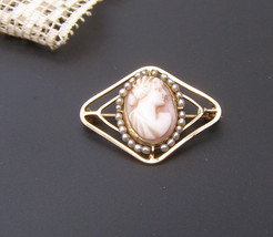 Vintage Victorian 10k Gold Cameo Seed Bead Pearl Pin Brooch - $89.09