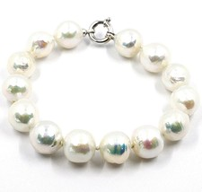 Bracelet or Blanc 18K, Perles Grandes 13 mm, Blanche, Freshwater, Style ... - $270.52