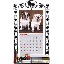 Bulldog Dog Breed Decorative Paws Metal Calendar Frame With Storage Area - $29.69