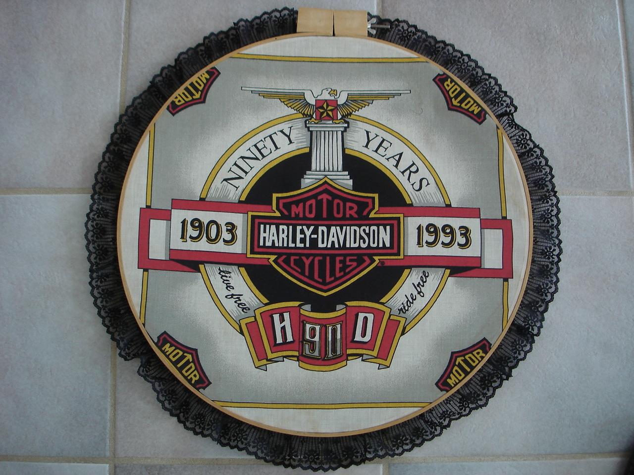 Harley Davidson Motor Cycle Scarf Wall Hanging Hoop, 1993