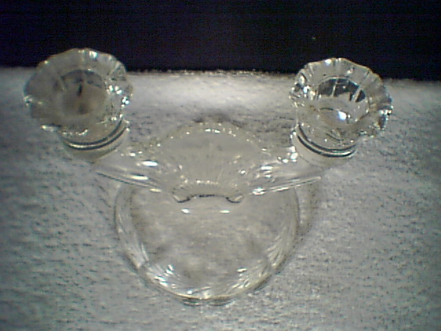 NICE GLASS DOUBLE CANDLE HOLDER~~~older~~