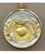 State of Georgia, 2-Toned, Gold on Silver, U.S.Quarter Pendant Necklace - $85.00