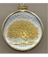 Connecticut, Gold on Silver, U.S. Quarter Pendant Necklace, Gold Filled ... - $85.00