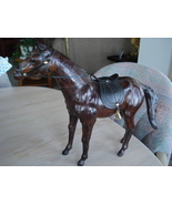 Home Decor Leather Covered Horse Figurine, Saddle & Bridle - $24.99