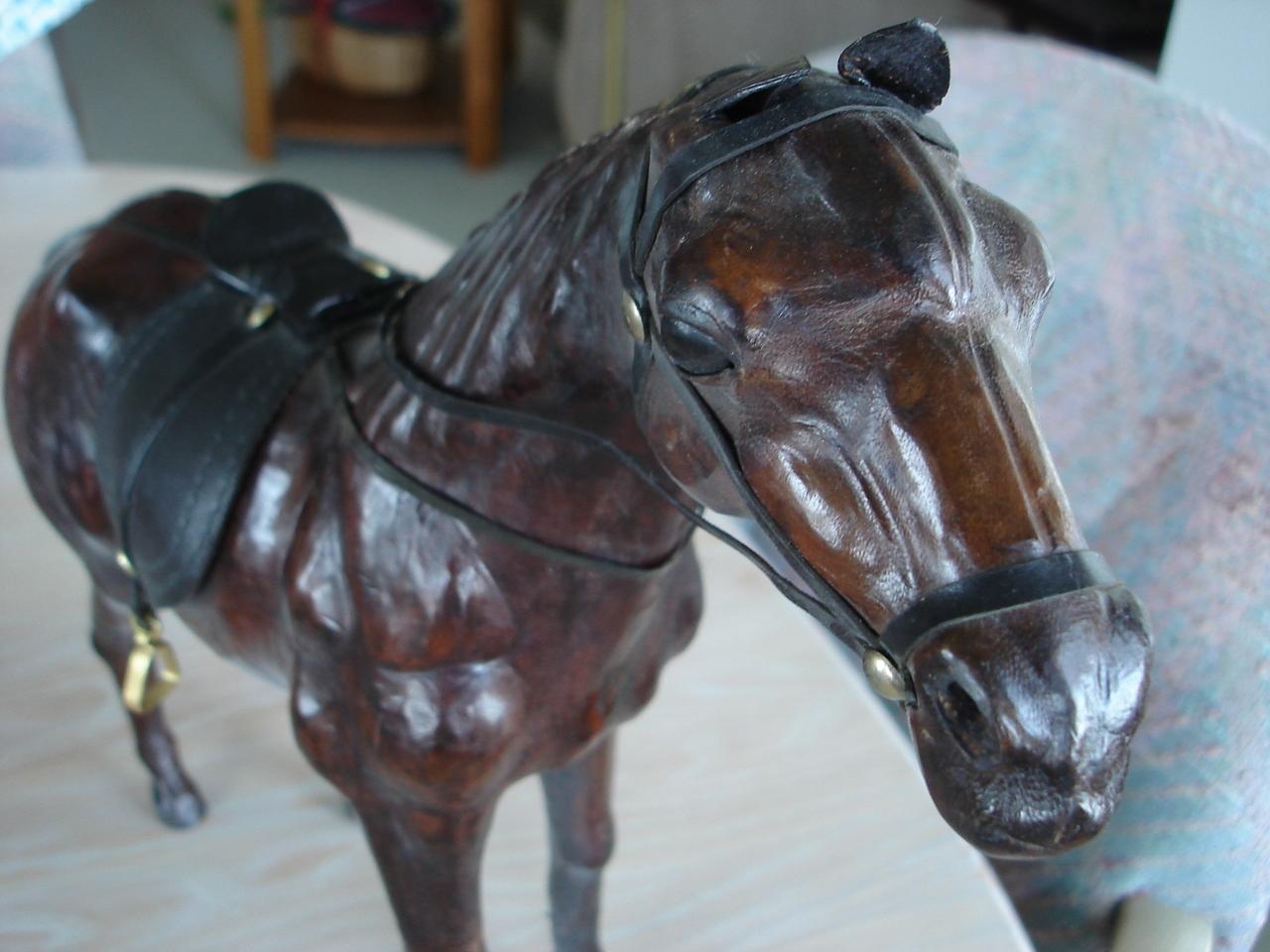 Home Decor Leather Covered Horse Figurine, Saddle & Bridle