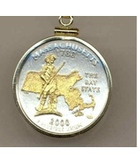 State of Massachussets, 2-Toned,Quarter Pendant Necklace Gold Filled Bezel - $85.00