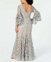 Betsy & Adam Embellished Lace Gown Grey/Nude Plus Size 14W $355 image 4