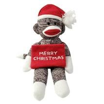 """Plushland Merry Christmas Sock Monkey Plush 11"""" Holiday - $14.46"""