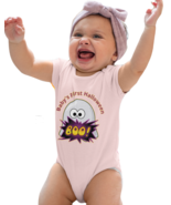 Pink , Baby's First Halloween Ghost Baby One Piece Bodysuit - Can Be Personal - $24.95
