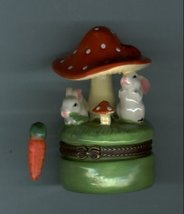 TWO BUNNY RABBIT UNDER A MUSHROOM HINGED BOX - £8.48 GBP