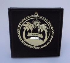 Miami Brass Ornament Florida Beach City Souvenir Black Leatherette Gift Box - $13.95