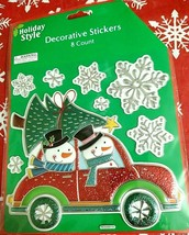 3D Metallic Red Car, Two Snowmen,Tree, Snowflakes Window Stickers Clings... - $6.00