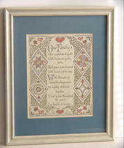 Family Patchwork Quilt Calligraphy Framed and Matted - $16.99