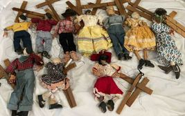 """Lot (10) Antique Handmade Marionette Doll Wood Resin 12.5"""" to 20"""" Man Woman image 11"""