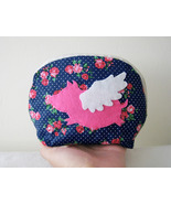 When Pig Flys In Spring. Sweet Pink Rose Navy Zipper Pouch Cosmetic Pouch - $14.50