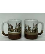 Pair Of Easter Bunny Rabbit Earthenware Coffee Cup Mugs 3 Tone Mug - $15.84
