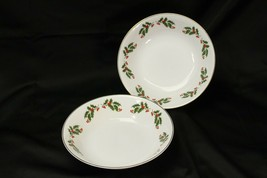 "Kashima Christmas Holly Serving Bowls 9"" Lot of 2 - $25.47"